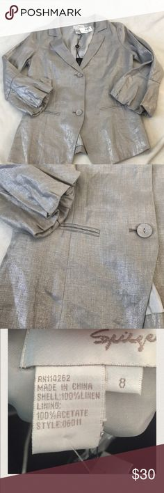 Spiegel Silver Shimmer Slim Jacket 100% linen jacket. Great weight. Silver shinny fabric. Still has tags attached with extra button. Has two buttons in front. Puffy bottom of sleeve for added style. Spiegel Brand Jacket Spiegel Jackets & Coats Blazers