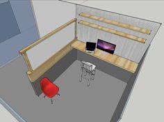 Standing desk version + raise/hide translucent glass whiteboard divider to the left + integrated shelving + pegboard