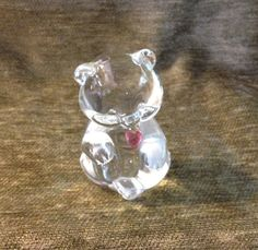 Vintage Lead Crystal Bear with a Garnet Red Heart Figurine Paperweight, Fenton Bear