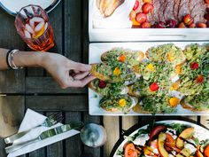 picnic menu - charcuterie, avocado toast, stone fruit salad