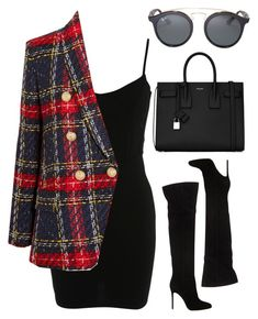 Untitled #960 by clary94 on Polyvore featuring Miss Selfridge, Balmain, Gianvito Rossi, Yves Saint Laurent and Ray-Ban