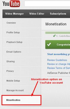 How to associate Youtube with Google Adsense Account