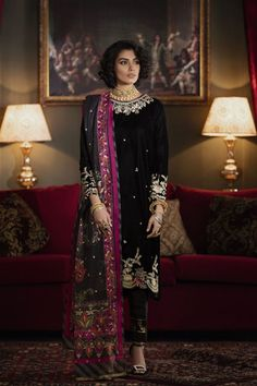 Ethnic by Outfitters Fancy Winter Dresses Casual Shirts Designs 2020 Collection consists of linen khaddar shawl dresses, velvet suits, stitched kurtis Pakistani Formal Dresses, Pakistani Outfits, Indian Outfits, Velvet Dress Designs, Casual Party Dresses, Victoria Dress, Designer Dresses, Designer Sarees, Suits For Women