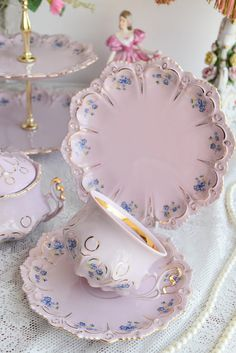 Vintage tea set by HC. Pink porcelain tea set with floral and 24 carat gold decorations. *************************** Unique Slav pink porcelain. This exclusive kind of porcelain has been manufactured in Slavic Europe since 1811. Original pink porcelain is made by adding a special dye substance to porcelain mass, before the firing process and precisely mixed until it achieved pink color. Afterwards, product is glazed with transparent glaze. This technique gives a real pink porcelain…