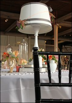 These lamp centerpieces looked amazing and were a perfect match to our black chiavaris