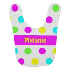Shop Funny Colorful Polka Dots Girly Name Bib created by stdjura. Cute Baby Gifts, Funny Design, Baby Bibs, Baby Names, Cute Babies, Polka Dots, Girly, Colorful, Bibs