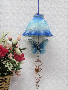 Repurposed Blue Butterfly Patio Art, Upcycled Light Shade Hanging Decor, Metal B… – Diy Garden Ceiling Fan Globes, Glass Light Globes, Glass Globe, Ceiling Fans, Pink Light Shades, Glass Light Shades, Lighting Globes And Shades, Globe Crafts, Glass Art Pictures