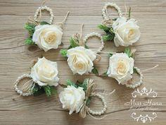 Ivory rose corsage Rustic Vintage Wrist by MissHanaFloralDesign