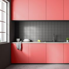 2019 Pantone Color of the Year Coral Kitchen, Pops Kitchen, Kitchen Cabinet Colors, New Kitchen Cabinets, Painting Kitchen Cabinets, Cupboards, Kitchen Furniture, Kitchen Interior, Kitchen Decor