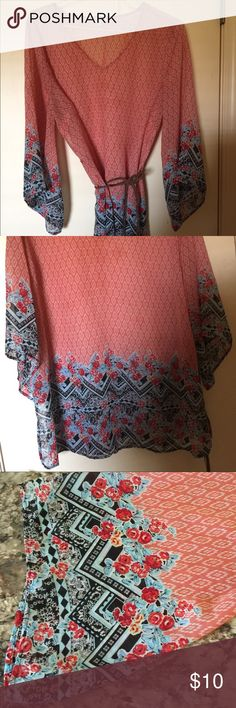 Bingo Plus 2X sheer top/dress, tie that came worn Bingo plus size 2 X sheer top with belt to be used with or without! NWOT Bongo Plus Tops Tunics