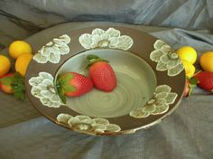 Ceramic Serving Bowl, Dish with Poppy Flowers in Sky Blue and Black Mountain by Sally Anne Stahl @ www.clayshapergallery.com