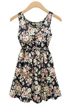 Black U-Neck Sleeveless Print Pleated Dress