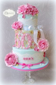 Lace, Roses & Peonies Colorful Cake