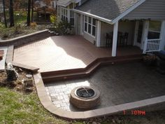 After - Ground Level Timbertech Deck and Paver Patio with Fire Pit and Water Feature - St. Backyard Gazebo, Backyard Garden Design, Backyard Ideas, Backyard Privacy, Patio Roof, Patio Ideas, Ground Level Deck, How To Level Ground, Patio Deck Designs
