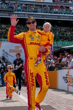 Ryan Hunter-Reay and his mini-mes at driver intros for the 100th running of the Indy 500