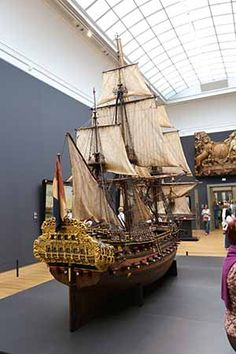 Impressive large model of the 72 gun Dutch warship WILLEM REX at the Rijksmuseum, Amsterdam, The Netherlands. Model was originally made at the Vlissingen (Flushing) dockyards in 1698, then displayed in the Council Chambers of the Admiralty of Zeeland in Middelburg.