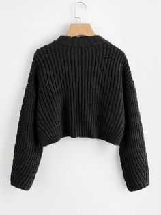 Vented Hem Chunky Knit Crop Jumper -SheIn(Sheinside) Source by brealouise Crop Top Outfits, Cute Casual Outfits, Stylish Outfits, Cute Jumpers, Cute Sweaters, Knit Jumpers, Knit Sweaters, Cropped Pullover, Cropped Sweater