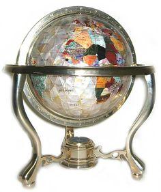 Metropolitan Gemstone Globe - Mother of Pearl ``Diamond Cut`` 9 Inch Diameter Gem Stone Globe w/3 Leg Brass Stand
