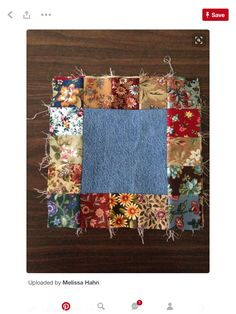 Blue Jean quilt block: The blue jean squares were cut at 6 the flower prints were cut at 2 Finished block, 10 inches. Quilting Tips, Quilting Tutorials, Quilting Projects, Quilting Designs, Diy Quilt, Scrappy Quilts, Patchwork Quilting, Denim Quilts, Quilt Block Patterns
