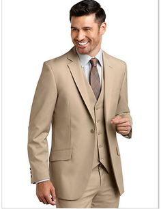 Mens Warehouse - English Laundry Tan Check Modern Fit Vested Suit