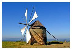 Moinho de vento | Fotografia de Xana | Olhares.com Portugal, Le Moulin, Windmill, Portuguese, Sailing Ships, Photo Art, Scenery, Boat, World