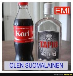Emi olen .. Haha Funny, Lol, Share A Coke, Stranger Things, Finland, Coca Cola, Vodka Bottle, Jokes, Deep