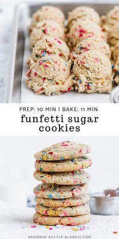 Chewy Sugar Cookies, Sugar Cookies Recipe, Cookies Et Biscuits, Funfetti Cookies, Sugar Cookies Sprinkles, Simple Sugar Cookie Recipe, Party Cookies Recipe, Funfetti Cookie Recipe, Sugar Cookies With Sprinkles