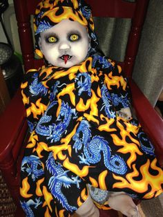 "OOAK Goth Reborn Hand Painted 20"" Crimson Moon Demon Babies Horror Doll Dragon"
