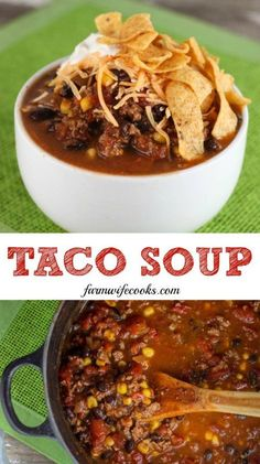 This Taco Soup is simple to make and has all your favorite taco flavors making it the perfect week night dinner recipe! This Taco Soup is simple to make and has all your favorite taco flavors making it the perfect week night dinner recipe! Mexican Food Recipes, Crockpot Recipes, Soup Recipes, Cooking Recipes, Healthy Recipes, Chili Soup Recipe, Weeknight Recipes, Weeknight Dinners, Family Recipes
