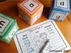 Fun CVC Roll, Blend & Write It Cubes$!!  Great way to practice CVC words!