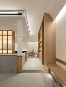 Completed in 2019 in South Korea. Images by Yong Joon Choi. SAEM Café has a tranquil and a strong feeling at once. The neat structure and natural colors are combined and finally be an SAEM Cafe as a. Cafe Interior, Interior Design, Hospital Design, Architect Design, Commercial Interiors, Ceiling Design, My Living Room, Store Design, Interior Architecture