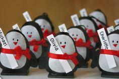 Segnaposto Natale pinguini feltro