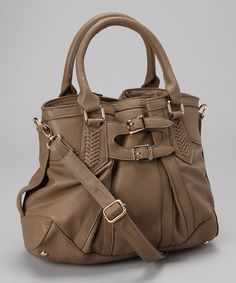Taupe Buckle Shoulder Bag by Orli & Co
