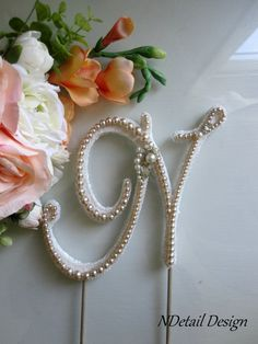 Wedding Cake Topper Monogram Vintage Pearl and by NDetailDesign