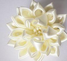 Ivory Satin Lotus Returns Tsumami Kanzashi Bridal by HanamiGallery, $35.00