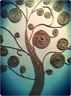 Beautiful Rope twined Tree as a Wall Art. This is another creative idea to use the leftover rope to twine in the shape of the tree.It can be a wonderful wall art for your home decor.twine tree--why not use scrap fabric twine?Art twine tree - I would paint Twine Crafts, Diy And Crafts, Arts And Crafts, Decor Crafts, Art Decor, Art Diy, Diy Wall Art, Sisal, Art Corde