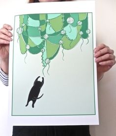 I Dream Of Yarn Curtains, a poster by Carolina Grönholm #nordicdesigncollective #katt #katten #cat #thecat #cuttingboard #animal #meow #kitten #pet #fur #cosy #carolinagronholm #poster #print #yarn #curtain #curtains #dream #dreams #catdream #green #jumo #jumpingcat