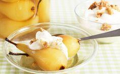 Päron i konjak med nötgrädde - Recept - Arla