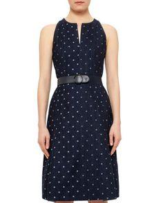 Akris Punto | Blue Polka Dot Denim A-line Dress | Lyst