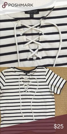 Topshop T Shirt Lace up front. Cotton shirt. Worn once Topshop Tops