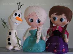 Bonecos do filme Frozen, confeccionados em feltro.