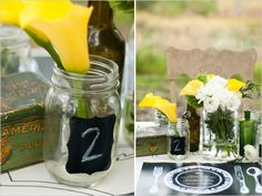 chalk board stickers and mason jars  rustic wedding inspiration featured on The Wedding Chicks  / Caroline & Evan Photography