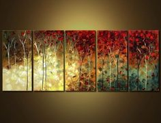 Cherish Art 100% Hand Painted Oil Paintings Gift Red Flowers 5 Panels Wood Inside Framed Hanging Wall Decoration