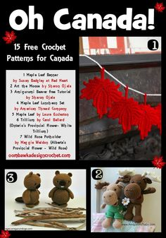 Oh Canada... Crochet Patterns for Canada http://oombawkadesigncrochet.com/2016/06/oh-canada-crochet-patterns-for-canada.html