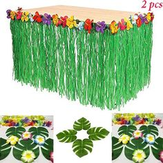 Hawaiian Luau Hibiscus Green String & Colorful Silk Faux Flowers Table Hula Grass Skirt for Party Decoration, Events, Birthdays, Celebration Pack) by Super Z Outlet Aloha Party, Hawaiian Luau Party, Moana Birthday Party, Hawaiian Birthday, Luau Birthday, Tiki Party, Birthday Parties, 21st Party, Birthday Table