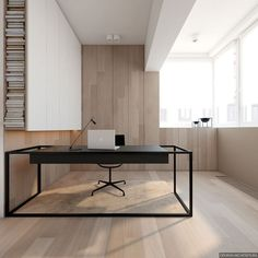 Minimal Office Space With Light Wood Panels And Matte Black Accents