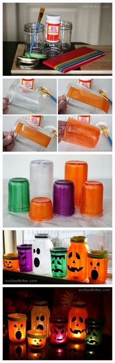 Mason Jar Lanterns for Halloween Decoration.