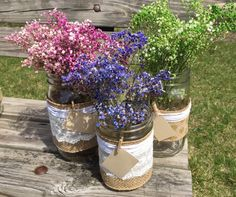 Set of 12 mason jar flower centerpieces/ burlap and personal note mason jar decor/ rustic mason by ForeverEverGirls on Etsy https://www.etsy.com/listing/230297466/set-of-12-mason-jar-flower-centerpieces