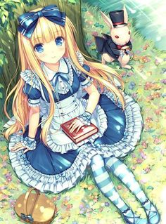 This is a pretty cute anime wallpaper. It focuses on Alice in Wonderland. She is sitting next to the white rabbit. It was made by the anime artist named Sayori. Anime Chibi, Manga Anime, Fanarts Anime, Manga Art, Anime Characters, Girls Anime, Kawaii Anime Girl, Beautiful Anime Girl, I Love Anime