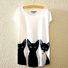 Abstract Black Kitty Cat Tee – The Meow Shop
